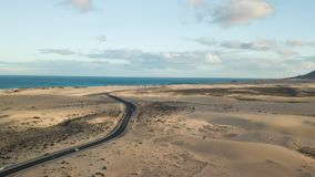 Aerial view of desert road stock footage