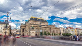 Timelapse hyperlapse view of the National Theater in Prague from the Legion Bridge. The old tram passing the bridge. Traffic on the road stock video