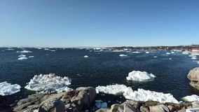 Timelapse of the icebergs on arctic ocean in Greenland stock video footage