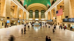 Timelapse inom den Grand Central terminalen, New York City lager videofilmer