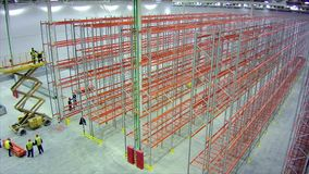 Timelapse installation of racks in large warehouse facility