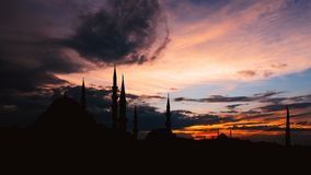 Timelapse view of Istanbul cityscape with famous Suleymaniye mosque at sunset stock footage