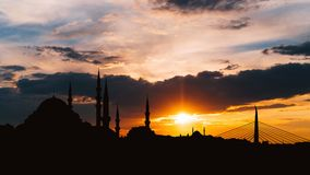 Timelapse view of Istanbul cityscape with famous Suleymaniye mosque at sunset stock video