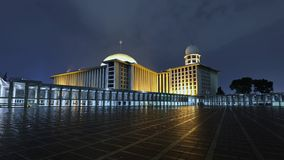 Timelapse of Istiqlal Mosque at night stock footage