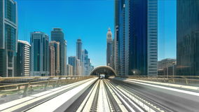 Timelapse journey on the Rail Metro, running alongside the Sheikh Zayed Road. 4K Timelapse in Dubai, United Arab Emirates stock video footage