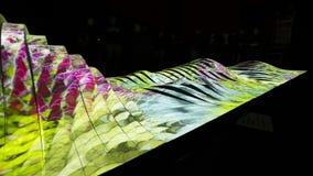 Timelapse 4K (3840p) video of Light installation Noisescape V2 by Teemu Maattanen - Prague Signal light festival 2016 stock footage