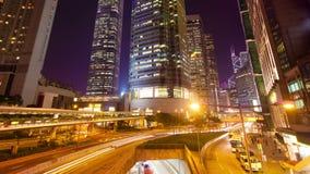 timelapse 4k Video eines Straßenmarkt in hyperlapse Hong Kongs 4k Video des beschäftigten Verkehrs und der Finanzgebäude in einer