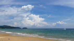 Timelapse of Karon Beach, Phuket, Thailand. KARON BEACH, THAILAND - APRIL 24 2015 - Timelapse of the beautiful Karon Beach in Phuket, Thailand. Tourists are stock video footage