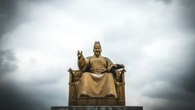 Timelapse of King Sejong Monument against Cloudy Sky at Gwanghwamun Square in Seoul, South Korea