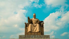 Timelapse of King Sejong Monument at Gwanghwamun Square in Seoul, South Korea
