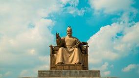 Timelapse królewiątka Sejong zabytek przy Gwanghwamun kwadratem w Seul, Południowy Korea zbiory