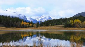Timelapse Lake and Mountains at Bowman Valley Provincial Park, Canada 4K stock video