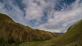 Timelapse landscape with clouds moving over mountains - Altay Russia, 4k stock footage