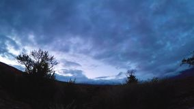 Timelapse landscape with clouds moving over mountains - Altay Russia, 4k stock video footage