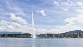 Timelapse Lemańska wodna fontanna w Genewa, Szwajcaria (Dżetowy d'eau) zdjęcie wideo