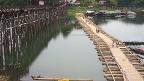 Timelapse of life community Sang-Kla-Buri the Mon Bridge collapse. stock footage