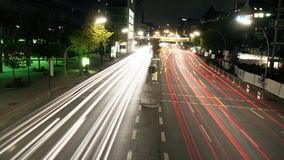 Timelapse Of Light Trails On Highway At Night.  stock footage