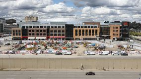 Timelapse of Little Caesars Arena in Detroit 4K. A Timelapse of Little Caesars Arena in Detroit 4K stock footage