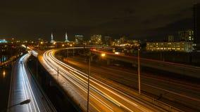 Timelapse of long exposure freeway traffic light trails in downtown Portland Oregon 4k uhd stock video footage