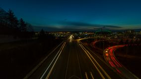 Timelapse of long exposure traffic light trails on interstate i5 in Seattle WA stock video