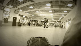 Timelapse of luggage bag trip in airport terminal: black and white Stock Image