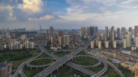 Timelapse materiał filmowy Wuhan miasta linia horyzontu zmierzch w lecie zbiory