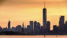Timelapse met Lower Manhattan, Freedom Tower en het Standbeeld van Vrijheid stock footage