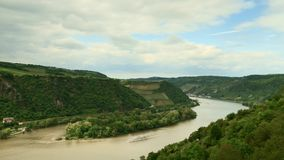 Timelapse - Middle Rhine valley from the viewpoint Wirbeley stock footage