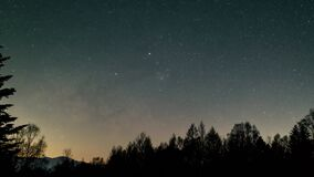 Timelapse of milky way with meteor shower and stars moving in night sky over pine trees and mountain right moving