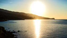 Timelapse. Morning landscape with sunrise. Timelapse. Morning sea landscape with sunrise over mountains HD stock video