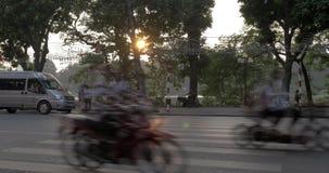 Timelapse of motorbikes and cars traffic on Hanoi highway, Vietnam. HANOI, VIETNAM - OCTOBER 27, 2015: Timelapse shot of traffic on city motorway. Domination of stock footage