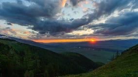 Timelapse of mountain sunset stock video footage