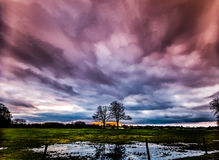 Timelapse movement of storm clouds at sunset with silhouette of two trees Stock Images