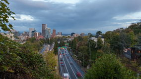 Timelapse Movie of Highway 26 Busy Traffic into Downtown Portland Oregon 1080p stock footage