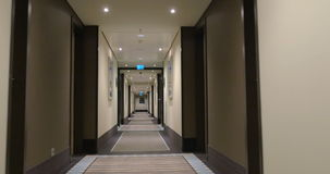 Timelapse of moving along the light hotel hall stock footage