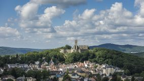 Moving clouds over castle Koenigstein stock footage