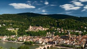 Timelapse - Moving clouds over the city of Heidelberg stock footage
