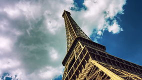 Timelapse with moving clouds over Eiffel tower. Paris, France, 4K stock video