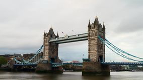 Timelapse - Moving clouds at Tower bridge stock footage