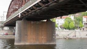 Timelapse of moving on Vltava river in Prague stock video