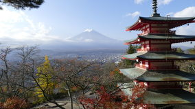 Timelapse of Mt. Fuji with fall colors in Japan for adv or others purpose use Royalty Free Stock Image