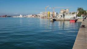 Timelapse - muelle del barco en Santander almacen de metraje de vídeo