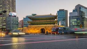 Timelapse of Namdaemun gate at night in Seoul, Korea