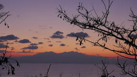 Timelapse in Nea Kallikratia, Greece at sunset seen branch of tree, sea, beautiful clouds and mountain of Olympus. Picturesque landscape stock video footage