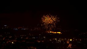 Timelapse night fireworks stock video footage