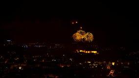 Timelapse night fireworks stock video footage
