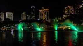 Timelapse of night illumination famous light music fountain show panorama kuala lumpur malaysia 4K stock footage