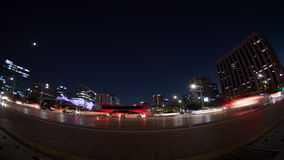 Timelapse of night road traffic in Seoul, South Korea stock footage
