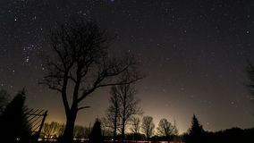 Timelapse at night with stars stock video footage