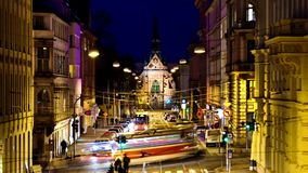 Timelapse night street in Central Europe Stock Image